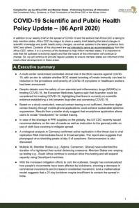 COVID-19 Scientific Public Health Policy Update 06 April 2020