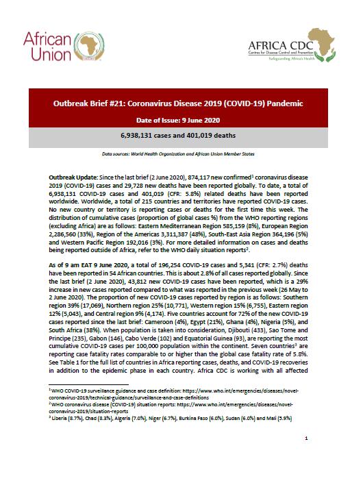 Outbreak Brief 21 Covid 19 Pandemic 9 June 2020 Africa Cdc